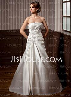 Wedding Dresses - $186.99 - A-Line/Princess Sweetheart Chapel Train Satin Wedding Dresses With Ruffle  Lace (002004785) http://jjshouse.com/A-Line-Princess-Sweetheart-Chapel-Train-Satin-Wedding-Dresses-With-Ruffle-Lace-002004785-g4785