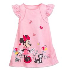 New Disney Store Girls Minnie Mouse Pink Nightgown Cap Sleeve Size 2 3  Figaro 3b3cfdc2b