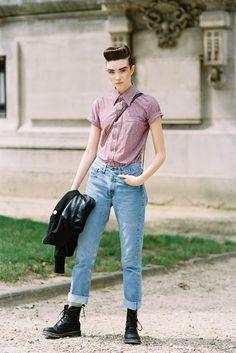 menwear inspired, button up top, boyfriend jeans, doc martens