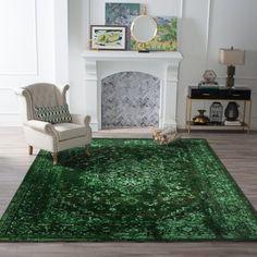 nuLOOM Vintage Reiko Indoor Area Rug – Area Rugs at Hayneedle – Rug making Sage Green Bedroom, Living Room Green, Green Rooms, Rugs In Living Room, Bedroom Rugs, Green Shag Rug, Emerald Green Decor, Green Furniture, The Fresh