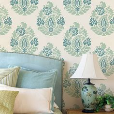 DIY Stenciled Curtain Panels and Drapes - DIY Home Decor for Cheap - Trendy Decorating - Rani Paisley Indian Damask Stencils by Royal Design Studio