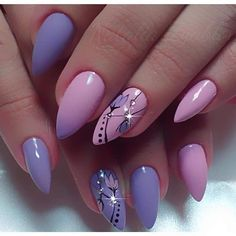 and Beautiful Nail Art Designs Almond Acrylic Nails, Cute Acrylic Nails, Acrylic Nail Designs, Nail Art Designs, Nails Design, Almond Nails, Classy Nails, Fancy Nails, Cute Nails