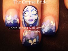 Nail Art! The Corpse Bride Nails | Halloween Nail Design Tutorial