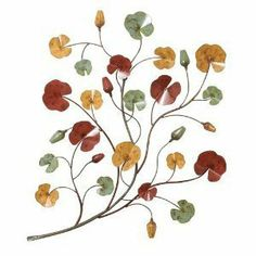"""Benzara 68336 38 in. H x 27 in. W Metal Wall Decor [Kitchen] by Benzara. $89.00. Great Gift Idea.. The floral metal wall decor is a single branch that spreads out to different small branches.. The metallic floral wall decoration measures 38 height and 27 width.. The petals are designed in different colors like yellow, green and red, resembling the grape. There are small buds designed in the same color, so altogether this wall decor makes a complete. 6"""" Handheld B..."""