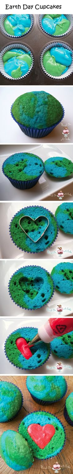 LOVE THIS maybe ill make them food coloring doesnt seem that earthly tho lol Earth Day Cupcakes!(Earth Day is April should make these! Holiday Treats, Holiday Fun, Holiday Recipes, Cupcake Original, Yummy Treats, Sweet Treats, Little Presents, Cupcake Cookies, Heart Cupcakes
