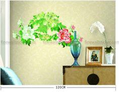 Peony Wall Sticker  #Peony #wallsticker #flowerwallsticker #walldecal #design #interiordesign #flower Cheap Wall Decals, Removable Wall Decals, Stick Wall Art, Flower Wall Stickers, Four Seasons, Peonies, Interior Design, Living Room, Flowers