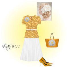 """""""Yellow & White Polka Dot"""" by estes9011 on Polyvore"""