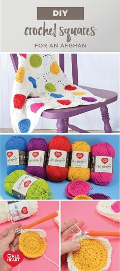 Bring color and coziness into your home this winter by tackling this DIY Polka Dot Crochet Afghan project using crochet squares! Starting with a variety of vivid Red Heart Chic Sheep Yarn by Marly Bird, this handmade blanket can be completely customized to suit the style of your living room—talk about the perfect craft for the season! You're sure to love learning new crochet stitches while working with this high quality, soft-to-the-touch merino wool.