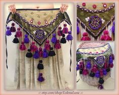 Unique handmade, ATS Hip scarf with tassels US$55.00 + Shipping (US$10.00) #tribalbellydance #americantribalstyle