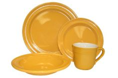 Emile Henry 4-Piece Dinnerware Set, Citron Set includes:One 11-inch Dinner plate, one 9-inch Soup/Pasta plate, one 8-inch Salad plate, one 14oz mug. Emile Henry's Ceradon is an exclusive process to produce strong and durable ceramic bakeware and tableware for everyday use: Unsurpassed for conducting, retaining heat. Smooth translucent glaze resists scratches and chips: you can cut directly on the ... #Emile_Henry #Kitchen