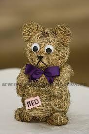 medvídek Corn Husk Dolls, Topiary, Wicker, Sculptures, Teddy Bear, Toys, Crafts, Animals, Design