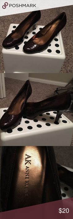 Anne Klein sexy heels New without tags-- only worn around the house to try them (didn't fit). Size 9. Dark maroon color with alligator type print, patent leather. Anne Klein Shoes Heels