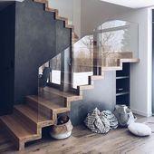 54 home interior design ideas with beautiful stairs 17 House Paint Interior, Wood Interior Design, Home Interior, Home Stairs Design, Modern House Design, Modern Houses, Escalier Design, Modern Staircase, Staircase Ideas