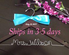 personalized wedding hanger! Buy it now at https://www.etsy.com/shop/HangingWithTheBride?ref=hdr_shop_menu