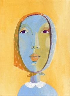 yellow portrait  original painting on canvas by behappynow
