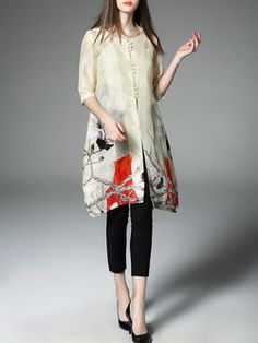 Multicolor Floral Crew Neck sleeve H-line Casual Floral-print Linen Tunic Tunics With Leggings, Casual Outfits, Fashion Outfits, Casual Dresses, Silk Mini Dress, Linen Tunic, Blouse Styles, Half Sleeves, Unique Fashion