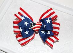 American Flag - 4th of July Pinwheel Hair Bow - Red and Royal Blue - 4th of July Hair Bow - Independance Day - Stars and Stripes Hair Bow via Etsy
