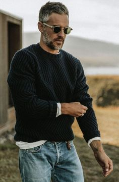 Best enjoyed alongside a warm beverage of your choice The Wave Sweater in Navy by Taylor Stitch is your new goto this winter. Mode Masculine, Stylish Men Over 50, Stylish Man, Older Mens Fashion, Men Fashion, Fashion Logos, Fashion Tape, Formal Fashion, Fashion Shirts