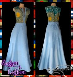 Modern traditional blue and yellow empire fit dress. Flowy bottom, neckline with a slit. White Wedding Dresses, Prom Dresses, Formal Dresses, Modern Traditional, Traditional Dresses, Minka Kelly, African Women, I Dress, Dress Making