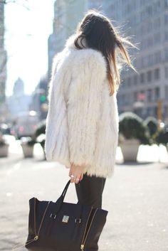 furry white, skinny black, and amazing bag.
