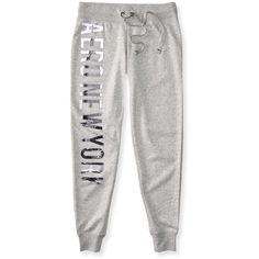 Aero New York Jogger Sweatpants ($14) ❤ liked on Polyvore featuring activewear, activewear pants, light heather grey, jogger sweat pants, fancy sweatpants, aeropostale sweatpants, jogger sweatpants and cotton sweatpants