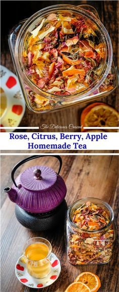 Homemade tea blend with citrus, berries, apples, roses and white tea is an invigorating infusion of sweet fruity flavors and the lively taste of antioxidant rich white tea. Homemade tea blend with citru Easy Healthy Recipes, Healthy Drinks, Vegetarian Recipes, Easy Meals, Cooking Recipes, Vegan Vegetarian, Dinner Healthy, Vegan Tea Recipes, Apple Recipes