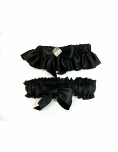Black Silk Bridal Garter with Optional Toss Garter