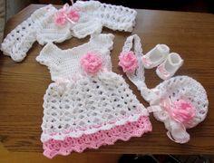 Crochet baby set baby dress bolero hat shoes and by paintcrochet