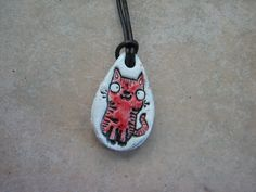 Whimsical Red Cat EO Diffuser Pendant, Red Kitty Essential Oils Pendant, Ceramic Perfume Pendant, Kid's Natural Medicine Pendant by Mareziedotes on Etsy