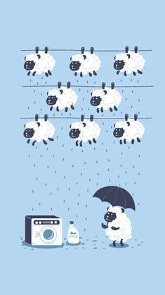 Kawaii ✿ Sheep ✿ Umbrella ✿ Washing Line ✿ Illustration Mignonne, Cute Illustration, Art Mignon, Sheep Art, Knitting Humor, Cute Drawings, Cute Wallpapers, Cute Art, Illustrators