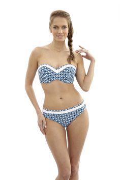 NEW Rocha bandeau bikini in Mosiac print, D-H cups, AVAILABLE NOW, http://www.panache-lingerie.com/en/products/details/panache-swim/rocha/bandeau-bikini/mosaic-print #panache #swim #bikini #swimwear #bandeau #beachwear