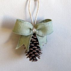Pinecone Ornament with GREEN burlap bow/NEW SIZE. $5.00, via Etsy.