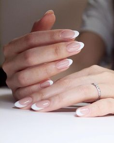 Clean white French oval nails