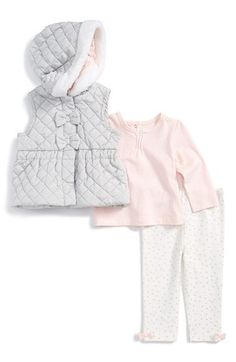 Little Me 'Glitsy' Quilted Vest, Top & Leggings (Baby Girls) | Nordstrom