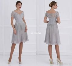 Silver Short Mother of the Bride Dresses with Sleeves Knee Length Pleated Chiffon Applique V Neck 2016 Custom Made Wedding Mother's Gowns Mother of the Bride Dress Cheap Party Dresses Online with 110.63/Piece on Sweet-life's Store | DHgate.com