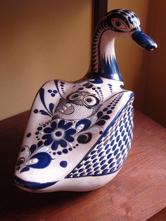 Folk-style, blue & white duck - charming!