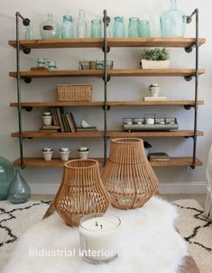 36 Ideas For Kitchen Shelves Styling Industrial Pipe Industrial Style Furniture, Industrial Interior Design, Vintage Industrial Furniture, Pipe Furniture, Furniture Stores, Furniture Outlet, Cheap Furniture, Discount Furniture, Luxury Furniture