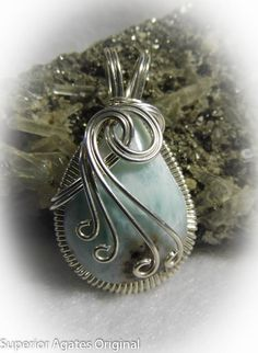 Blue Larimar Wire Wrapped Stone Pendant by superioragates on Etsy, $45.00