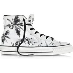 Converse Limited Edition Shoes Star Player Ev High Top Optical White/Black Palms Printed Canvas and Leather Sneaker