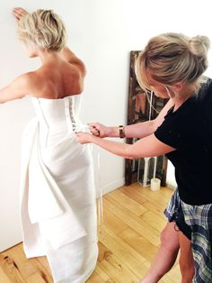 Julianne Hough's Photo Diary for the 2014 Emmy Awards - 2. Lacing up the Dress #InStyle