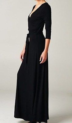LONG SLEEVE MAXI DRESS SOLID BLACK V-NECK WRAP DRESS BOUTIQUE FASHION