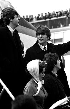 The Beatles arriving in America
