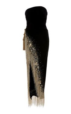 Black Strapless Gown With Fringe And Bead Embellis. - Black Strapless Gown With Fringe And Bead Embellishments by Oscar De - Couture Dresses, Fashion Dresses, Fashion Fashion, Fringe Fashion, Pretty Dresses, Beautiful Dresses, Cute Party Outfits, Evening Dresses, Formal Dresses