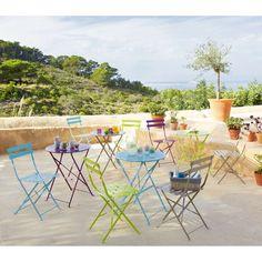 2 metal folding garden chairs in purple