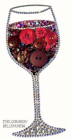 8x10 Button Art Wine Glass Decoration Red Wine Art by BellePapiers