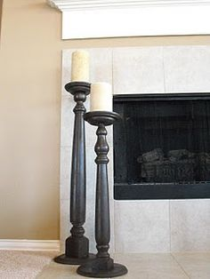 Tutorial with photos- How to make tall candle stick with table legs. This is an easy to follow step by step tutorial with photos. Your project will be completed with no mess, no fuss and will look a million bucks