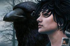 Portrait adolescente accompagnée d'un corbeau dans une atmosphère sombre et onirique.