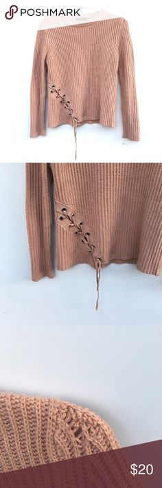 Pale Pink Knit Lace Up Sweater Pale pink knitted sweater. Material is thick and sturdy. Knitting is slightly thinned at the top of one shoulder as pictured. Crosses up on the bottom of the front. Boohoo Sweaters Crew & Scoop Necks
