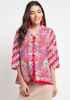 Astari Top from Astari Batik in Blouse Batik, Batik Dress, Couple Jacket, Batik Couple, Batik Kebaya, Batik Fashion, Ethnic Dress, Ikat, Womens Fashion