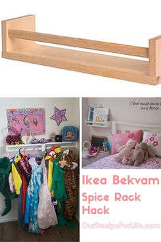 Ikea Bekvam Spice Rack Hacks - $3.99 for each spice rack, I've used them as Dress-Up rails in the playroom and as Book Shelves beside the kid's beds